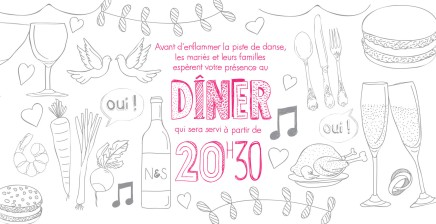 Invitation diner mariage N&S